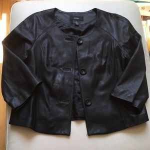 Alfani Black Leather Swing Coat